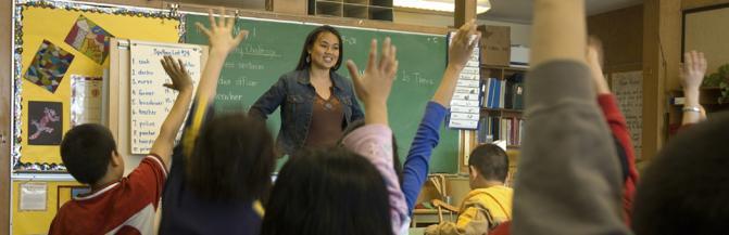 Teacher with children jin class