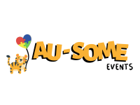 Au-Some Events banner with bengal holding balloon