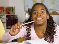 Young student in class