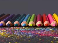 colorful pencils in a row