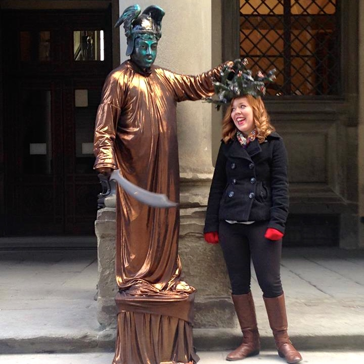Student with a statue
