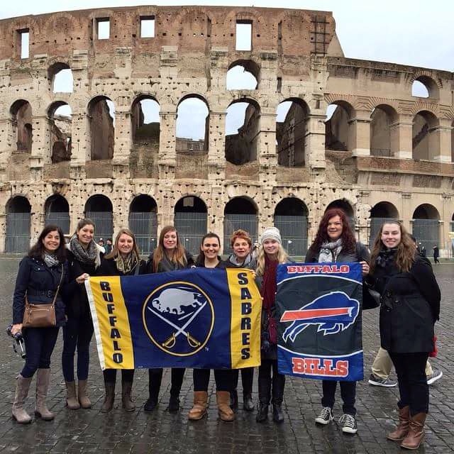 Students in front of the coliseum